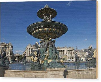 Fountain At Place De La Concorde. Paris. France Wood Print by Bernard Jaubert