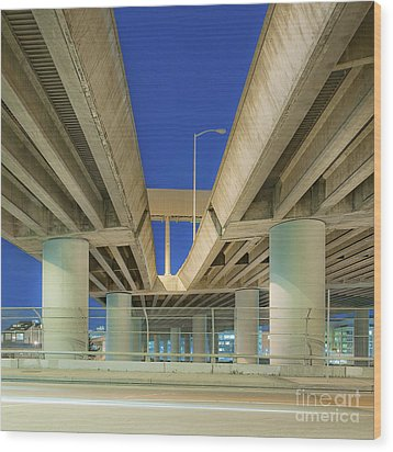 Freeway Overpass Support Structure At Night Wood Print by Eddy Joaquim