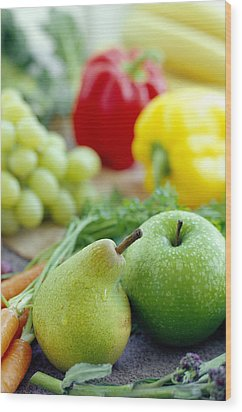 Fruits And Vegetables Wood Print by David Munns