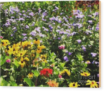 Gail's Garden Wood Print