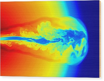 Gamma Ray Burst Formation Wood Print by Weiqun Zhangstan Woosley
