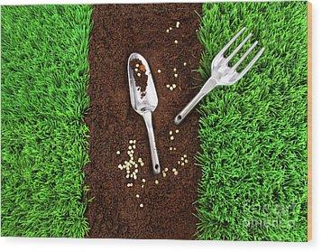 Garden Tools On Earth Wood Print by Sandra Cunningham