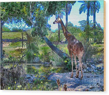 Wood Print featuring the painting George The Giraffe by Elinor Mavor