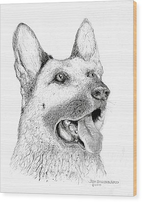 German Shepherd Dog Wood Print by Jim Hubbard