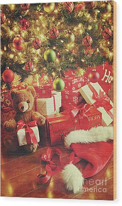 Gifts Under The Tree For Christmas Wood Print by Sandra Cunningham