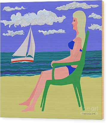 Girl At Beach Wood Print by Fred Jinkins