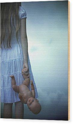 Girl With Baby Doll Wood Print by Joana Kruse
