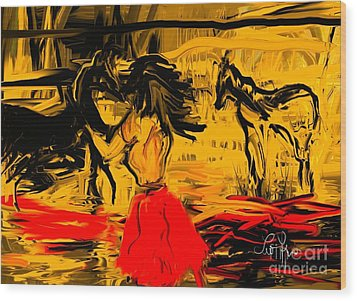 Wood Print featuring the digital art Girl With Horses by Leo Symon