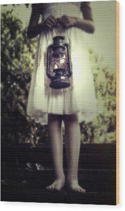 Girl With Oil Lamp Wood Print by Joana Kruse