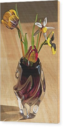 Glass Bouquet 1 Wood Print by Steve Ohlsen