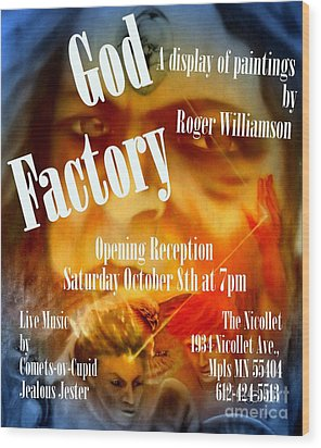 God Factory An Exhibition Of Paintings By Roger Williamson Wood Print