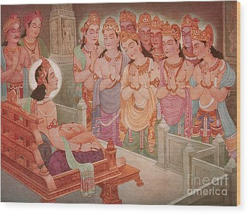 Gods Entertaining Mahavira Wood Print by Photo Researchers