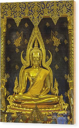Golden Buddha  Wood Print by Anek Suwannaphoom
