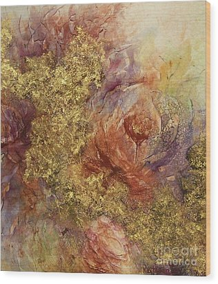 Golden Rose Path Wood Print