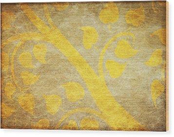 Golden Tree Pattern On Paper Wood Print by Setsiri Silapasuwanchai