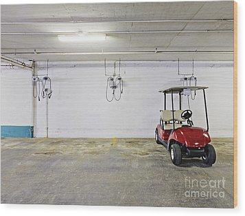 Golf Cart Parking Garage Wood Print by Skip Nall