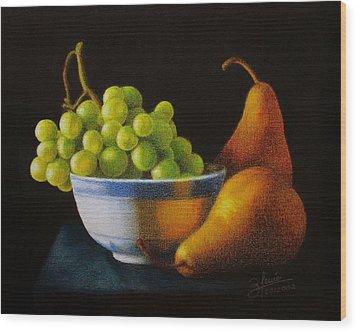 Grapears Wood Print by Bleuie  Acosta