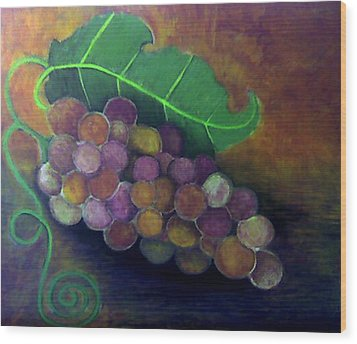 Wood Print featuring the painting Grapes by Monica Furlow
