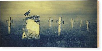 Gravestones In Moonlight Wood Print