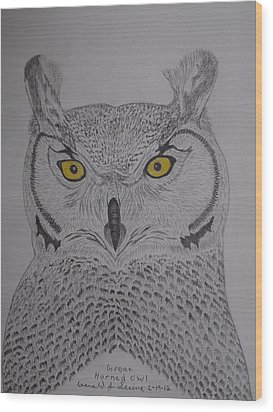 Wood Print featuring the drawing Great Horned Owl by Gerald Strine