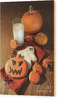 Halloween Cookies With A Glass Of Milk Wood Print by Sandra Cunningham