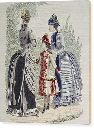 Hand-colored Engraving Of Two Women Wood Print by Everett