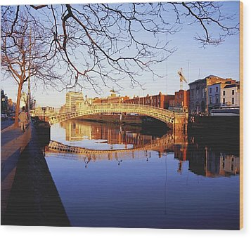 Hapenny Bridge, River Liffey, Dublin Wood Print by The Irish Image Collection