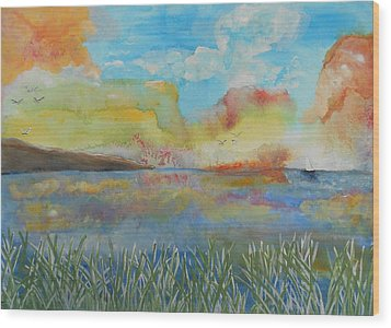 He Leads Me Beside The Still Waters Wood Print by Barbara McNeil