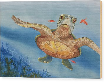 Henry C. Turtle-lunch With Friends Wood Print