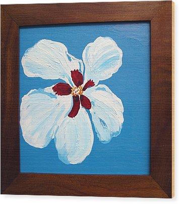 Hibiscus On Blue Wood Print by Karen Nicholson