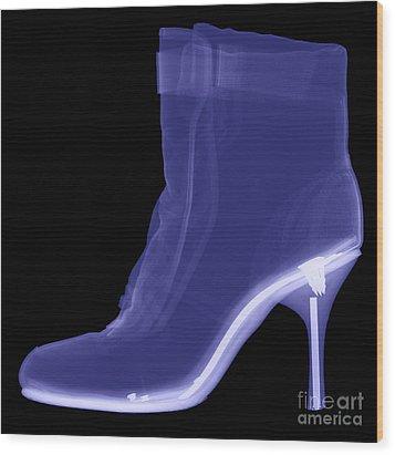 High Heel Boot X-ray Wood Print by Ted Kinsman
