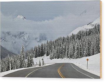 Highway 40 In Winter, Highwood Pass Wood Print by Darwin Wiggett