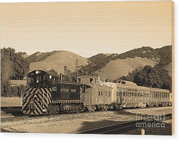 Historic Niles Trains In California.southern Pacific Locomotive And Sante Fe Caboose.7d10819.sepia Wood Print by Wingsdomain Art and Photography