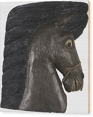 Wood Print featuring the painting Horse Head by Unsigned