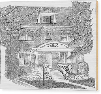 House / Home Rendering Wood Print by Marty Rice