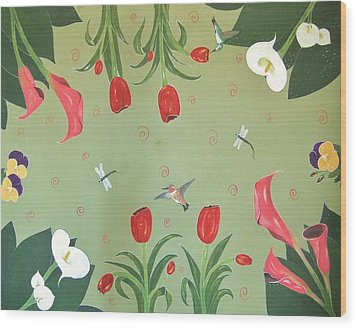 Hummingbird Garden Wood Print