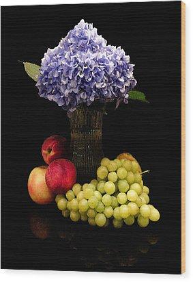Hydrangea And Fruit Wood Print by Sandi OReilly