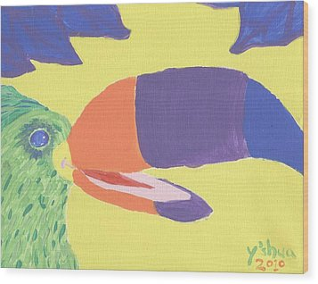 Wood Print featuring the painting If One Can Toucan by Yshua The Painter
