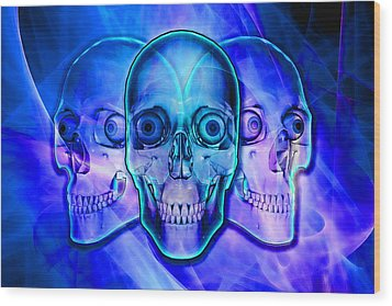 Illuminated Skulls Wood Print