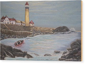 Wood Print featuring the painting In Search Of Portland Maine - Mary Krupa by Bernadette Krupa
