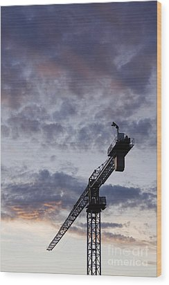 Industrial Crane Wood Print by Jeremy Woodhouse