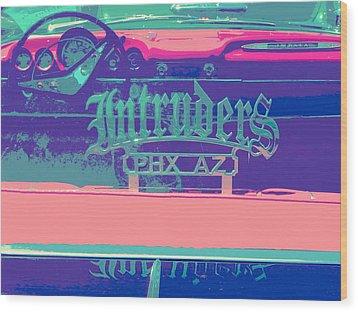 Intruders Car Club Wood Print by Chuck Re