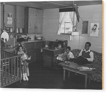 Japanese American Family Interned Wood Print by Everett