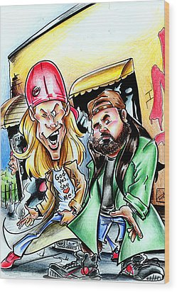 Jay And Silent Bob Wood Print by Big Mike Roate