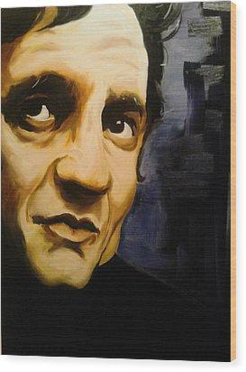 Johnny Cash Wood Print by Matt Burke