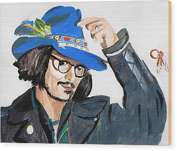 Wood Print featuring the painting Johnny Depp 3 by Audrey Pollitt