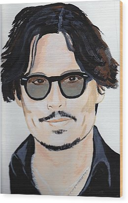 Wood Print featuring the painting Johnny Depp 4 by Audrey Pollitt