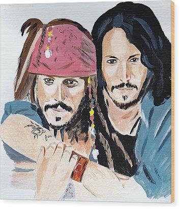 Johnny Depp X 2 Wood Print by Audrey Pollitt