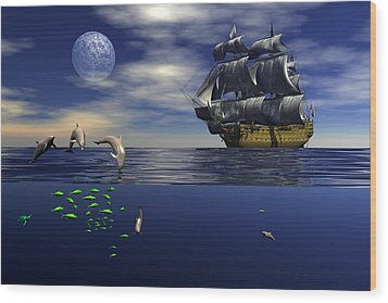 Wood Print featuring the digital art Just Passing by Claude McCoy