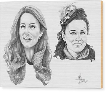 Kate Middleton Wood Print by Murphy Elliott